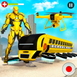 Flying School Bus Robot: Hero Robot Games  27 (Mod)
