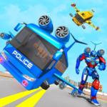 Flying Bus Robot Transform War- Police Robot Games 1.0.11 (Mod)