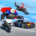 Flying Police Panda Robot Game: Robot Car Game 1.0.5 (Mod)